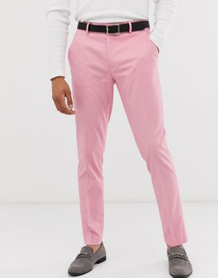 ASOS DESIGN skinny smart pants in pink oxford