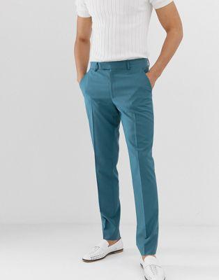 ASOS DESIGN skinny smart pants in teal blue