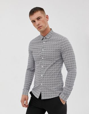 Image 1 of ASOS DESIGN skinny smart work floral shirt