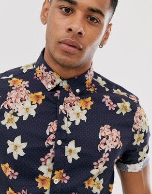 ASOS DESIGN skinny stretch floral shirt in navy