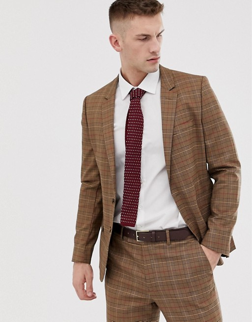 ASOS DESIGN skinny suit jacket in brown prince of wales check