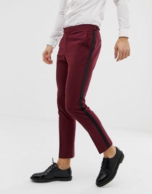 ASOS DESIGN skinny tuxedo suit pants in plum
