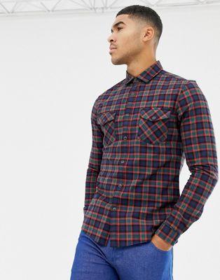 ASOS DESIGN skinny western check shirt in navy