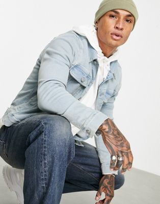 ASOS DESIGN skinny western denim jacket in bleach wash