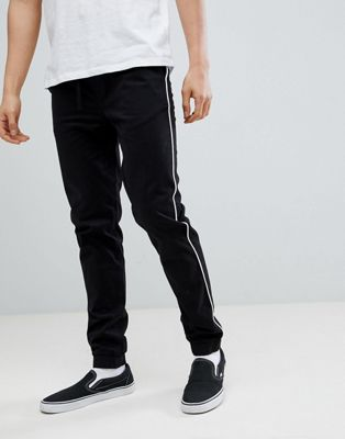 ASOS DESIGN Skinny Woven Joggers In Black With White Piping