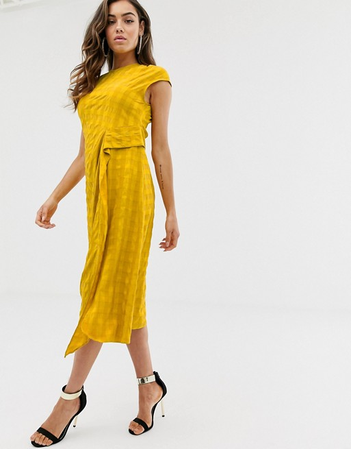 asos-design-sleeveless-modern-midi-dress-with-drape-detail-in-texture by asos-design