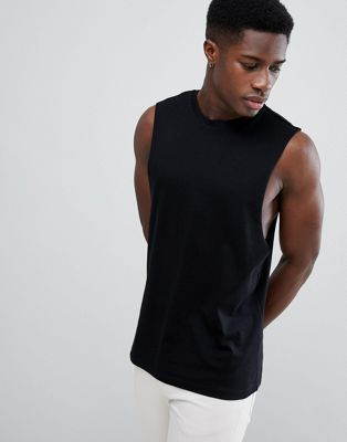 ASOS DESIGN sleeveless t-shirt with dropped armhole in black