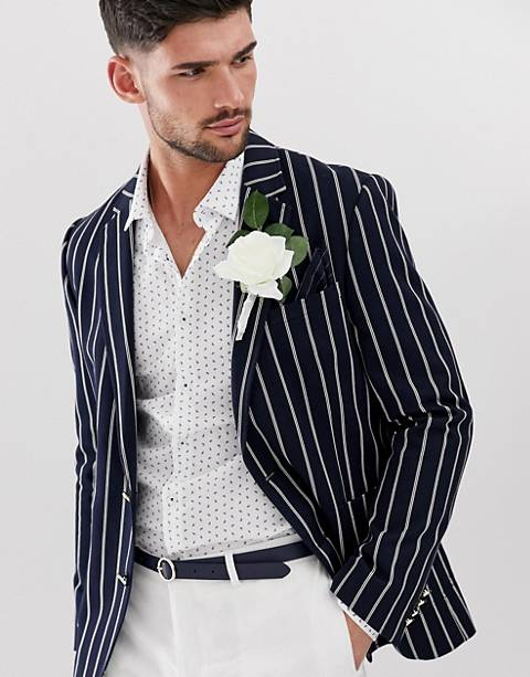 ASOS DESIGN slim blazer in navy stripe with gold buttons