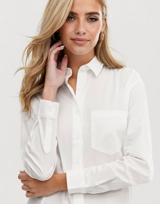 ASOS DESIGN slim boyfriend shirt with pleat detail back in stretch cotton