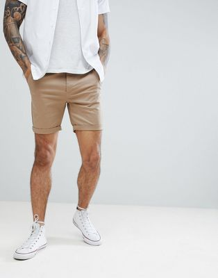 ASOS DESIGN Slim Chino Shorts In Stone