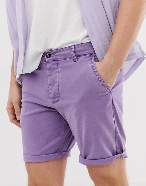 ASOS DESIGN slim chino shorts in washed lilac