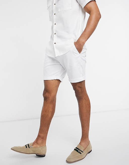 ASOS DESIGN slim chino shorts in white