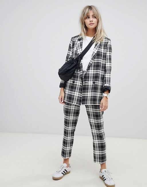 Image 1 of ASOS DESIGN slim cigarette suit pants in mono check