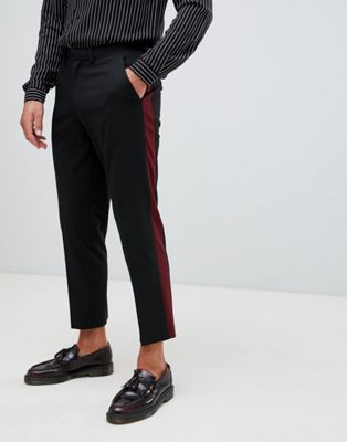 ASOS DESIGN slim crop smart pant in alternating colour side stripe