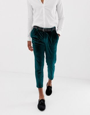 ASOS DESIGN slim crop smart pant in green velvet