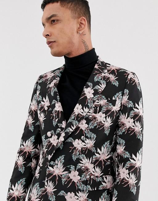 ASOS DESIGN slim double breasted blazer in black jacquard