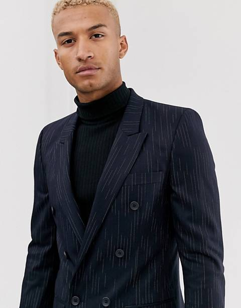 ASOS DESIGN slim double breasted blazer with broken stripe in navy