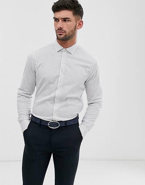 b76dad3f9d ASOS DESIGN slim fit shirt in navy & white stripe