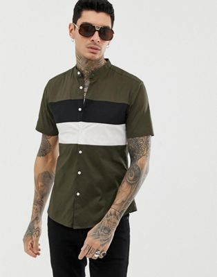 ASOS DESIGN slim fit shirt with cut & sew