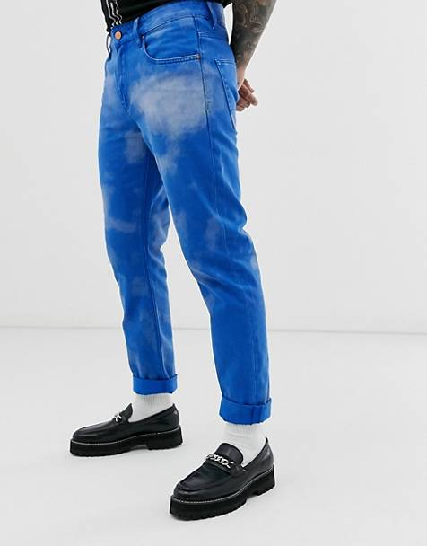 ASOS DESIGN slim jeans in cobalt blue with cloud effect