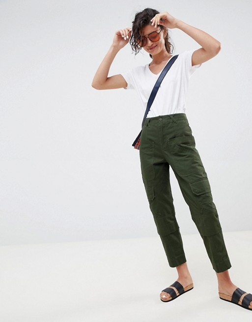 ASOS DESIGN slim leg utility trousers in green