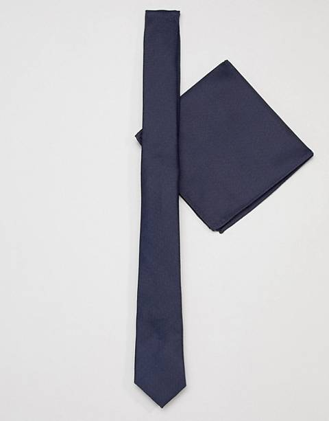 ASOS DESIGN slim navy tie and pocket sqaure
