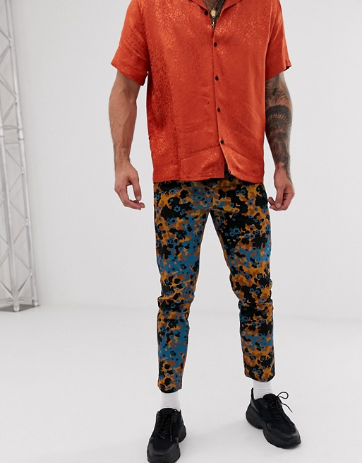 ASOS DESIGN slim pants in abstract floral print