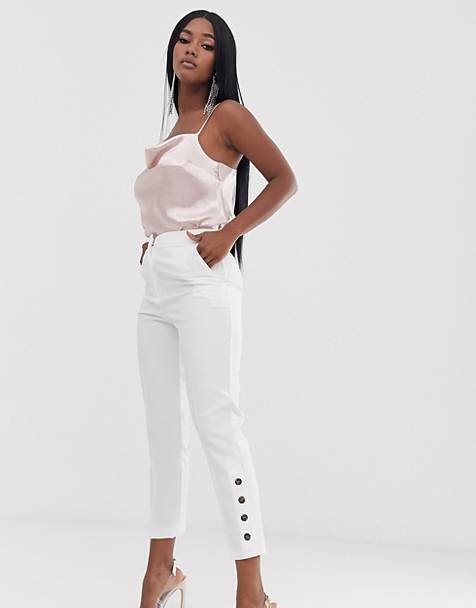 ASOS DESIGN slim pants with ankle button detail