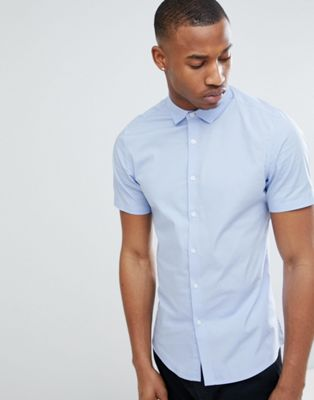 ASOS DESIGN Slim Shirt With Stretch In Blue