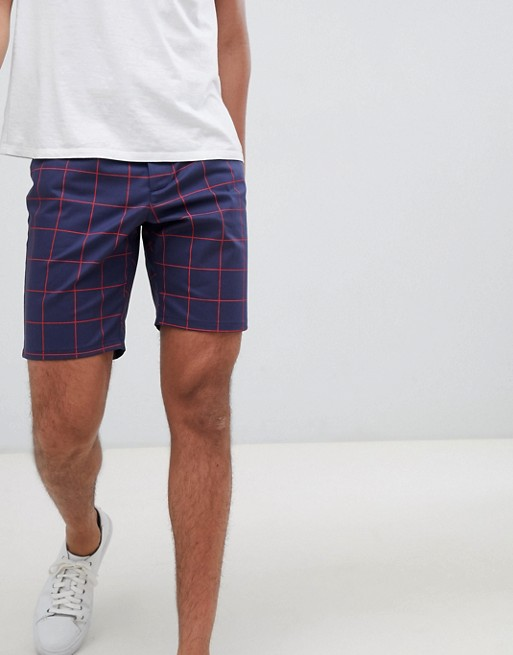 ASOS DESIGN Slim Shorts In Navy Windowpane Check