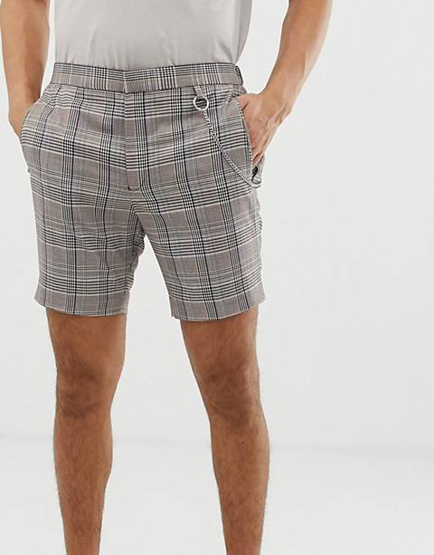 ASOS DESIGN slim smart shorts in gray check with removeable metal chain