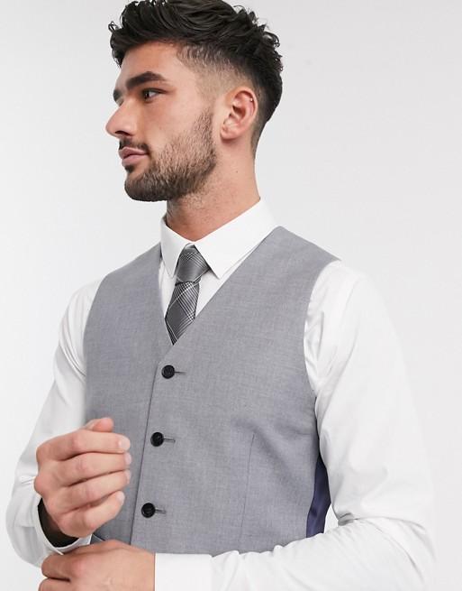 ASOS DESIGN slim suit waistcoat in mid grey