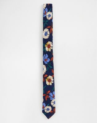 Image 1 of ASOS DESIGN slim tie in navy floral pattern