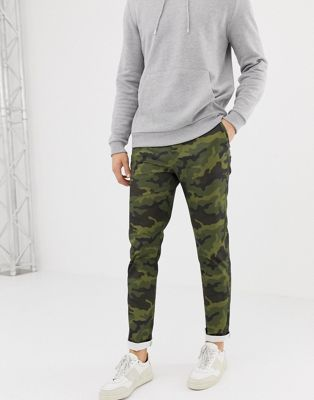 ASOS DESIGN slim trousers in camo