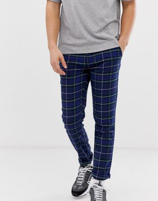 ASOS DESIGN slim trousers in navy check