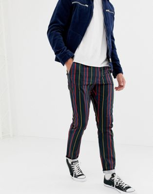 ASOS DESIGN slim trousers with elasticated waist in collegiate stripe