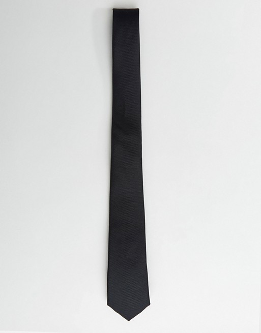 ASOS DESIGN slim wedding tie in black