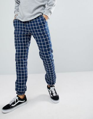 ASOS DESIGN Slim Woven Joggers In Navy Check