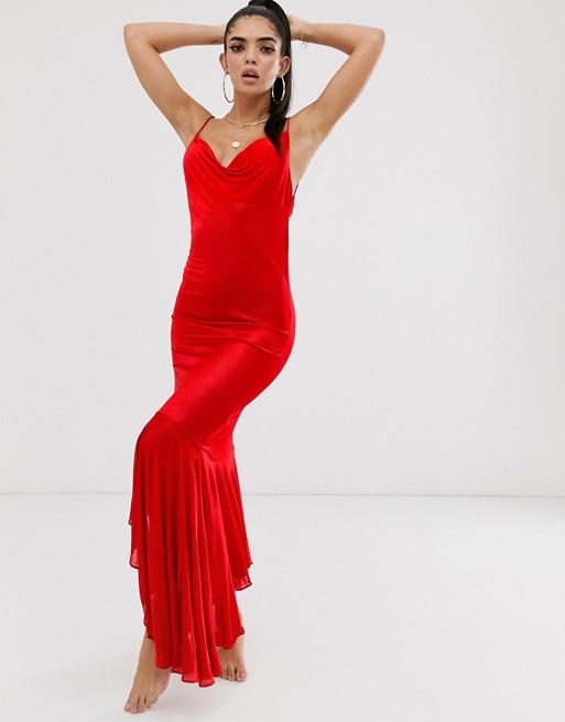 Image 1 of ASOS DESIGN slinky beach maxi dress with cowl neck & ruffle hem