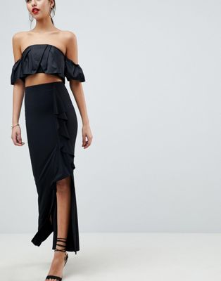 ASOS DESIGN Slinky Maxi Skirt With Split And Front Ruffle