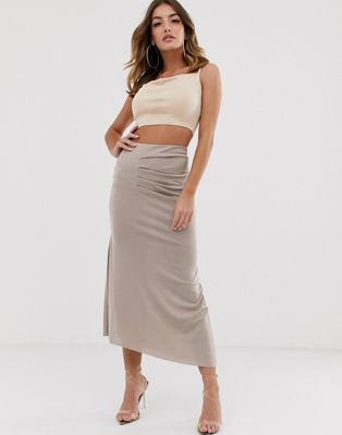 ASOS DESIGN slinky tuck side maxi skirt