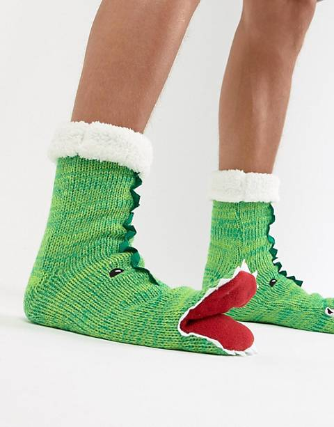ASOS DESIGN slipper socks in dinosaur design with opening mouth & fluffy lining
