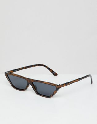 ASOS DESIGN small cat eye flat brow sunglasses in tort