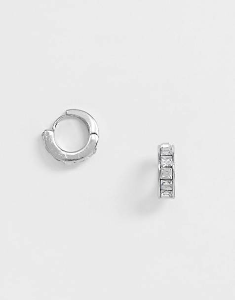 ASOS DESIGN small hoop earrings with crystal in silver tone