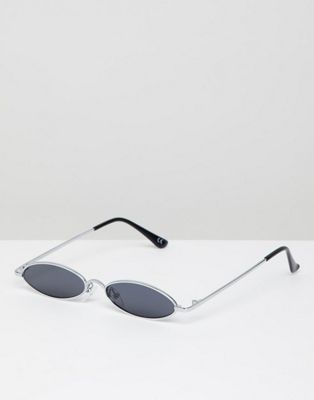 ASOS DESIGN small metal oval sunglasses