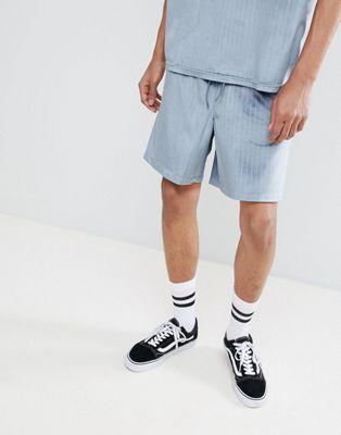 ASOS DESIGN - Smalle short combi-set met elastische tailleband in velour