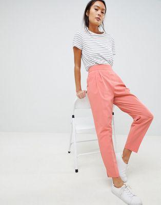 Afbeelding 1 van ASOS Design Smaltoelopende broek met hoge taille