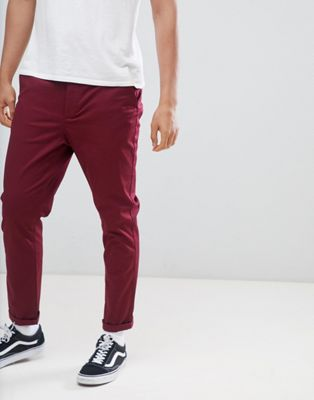 Afbeelding 1 van ASOS DESIGN - Smaltoelopende chino in bordeauxrood