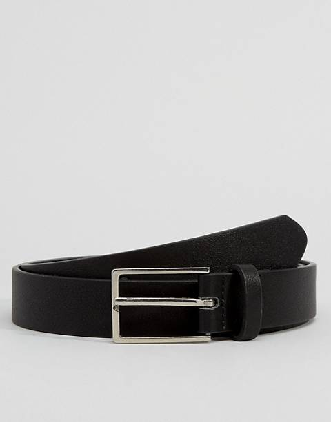 ASOS DESIGN smart faux leather slim belt in black