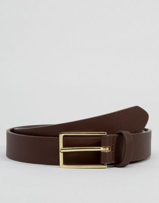 Image 1 of ASOS DESIGN smart faux leather slim belt in brown